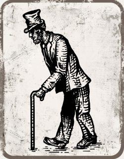 杖をつく老人