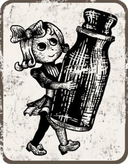 瓶を持つキャラクター